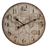Vintage Style Wooden Panel World Map Round Wall Clock 60cm w arabic dial